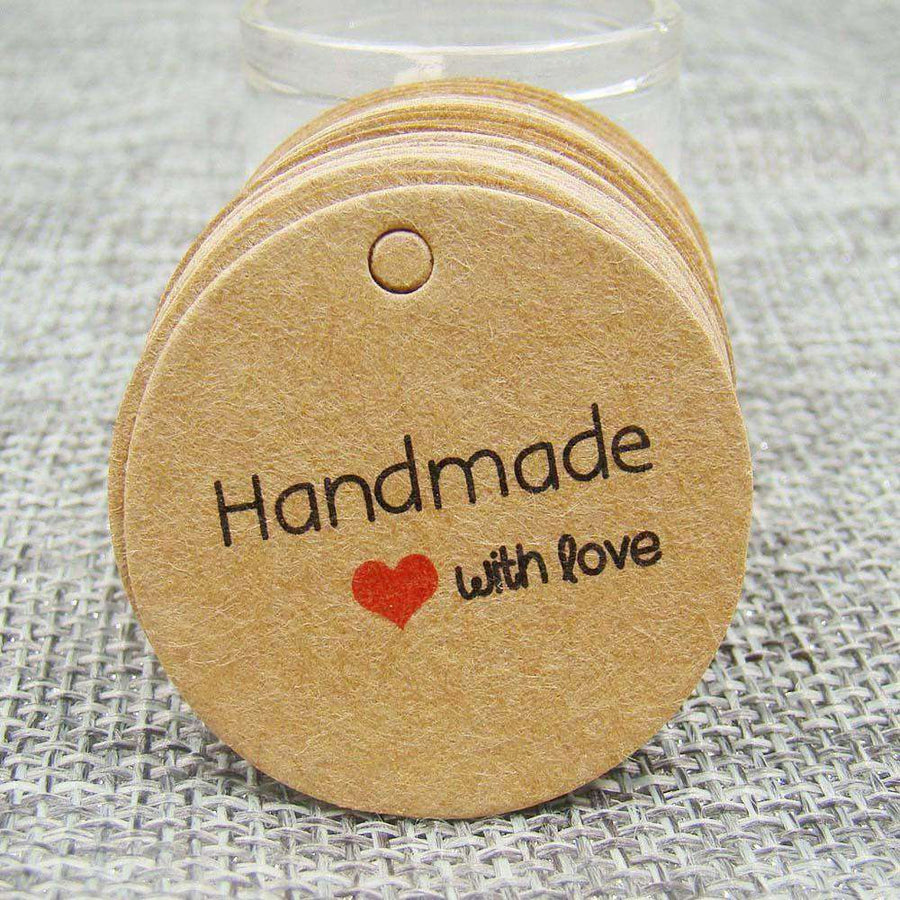 Kraft Print Paper Hand Made Tag With Love For Diy Gift Box