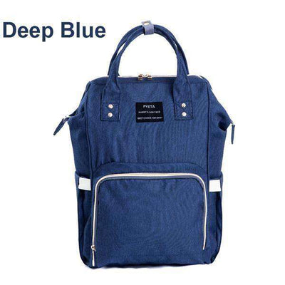 Large Capacity Multifunctional Mummy Backpack Nappy Bag Deep Blue