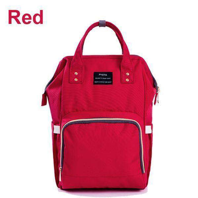 Large Capacity Multifunctional Mummy Backpack Nappy Bag Red