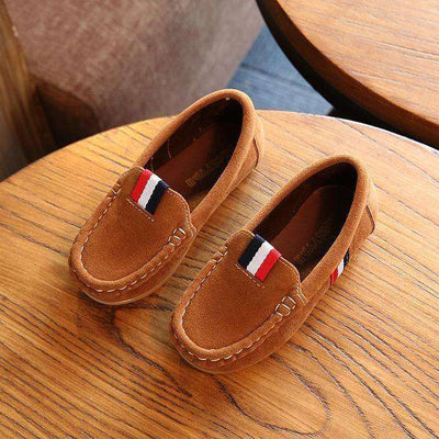 Leather Shoes Kids Casual Flats Brown / 9