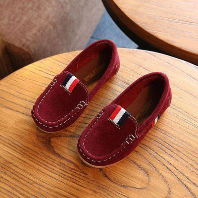 Leather Shoes Kids Casual Flats Dark Red / 9