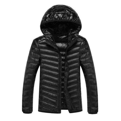Lightweight Feather Hoodies Coat Black / M Down Jackets