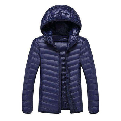 Lightweight Feather Hoodies Coat Navy / M Down Jackets