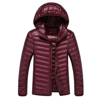 Lightweight Feather Hoodies Coat Wine / M Down Jackets