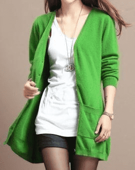 Long Cardigan Lady Cashmere Sweater Green / S W.sweaters