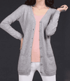 Long Cardigan Lady Cashmere Sweater Light Gray / S W.sweaters