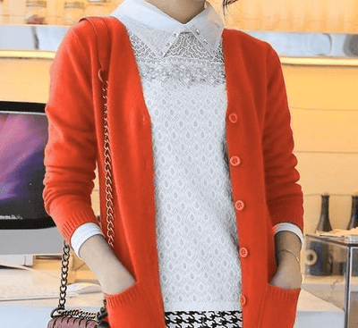 Long Cardigan Lady Cashmere Sweater Orange / S W.sweaters