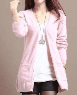 Long Cardigan Lady Cashmere Sweater Pink / S W.sweaters