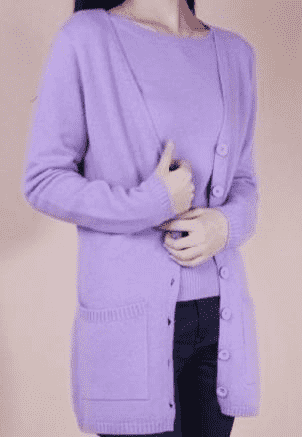 Long Cardigan Lady Cashmere Sweater Purple / S W.sweaters