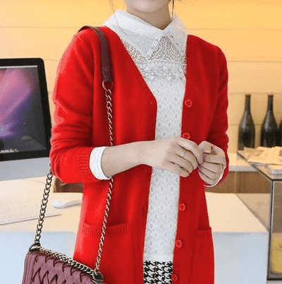 Long Cardigan Lady Cashmere Sweater Red / S W.sweaters