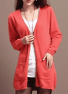 Long Cardigan Lady Cashmere Sweater Watermelon Red / S W.sweaters