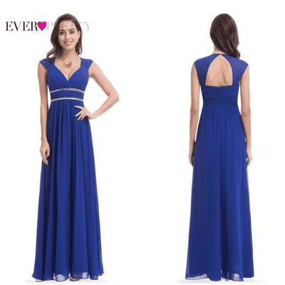 Long Pretty Formal Prom Dress Sapphire Blue / 6 / China Prom Dresses