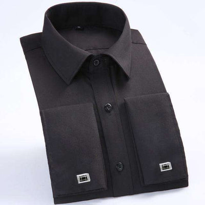 Long Sleeve Casual Slim French Cuff Shirts Fs05 Black / Asian Size M Shirts