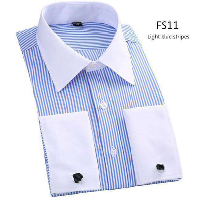 Long Sleeve Casual Slim French Cuff Shirts Fs11 / Asian Size M Shirts