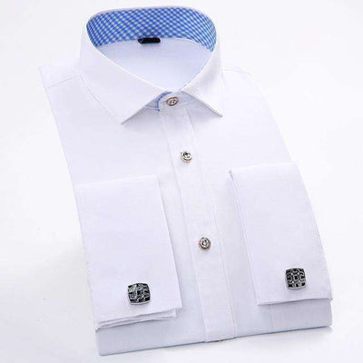Long Sleeve Casual Slim French Cuff Shirts Fs20 / Asian Size M Shirts