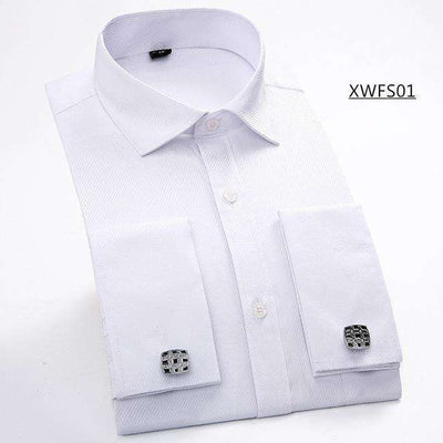 Long Sleeve Casual Slim French Cuff Shirts Xwfs01 White / Asian Size M Shirts