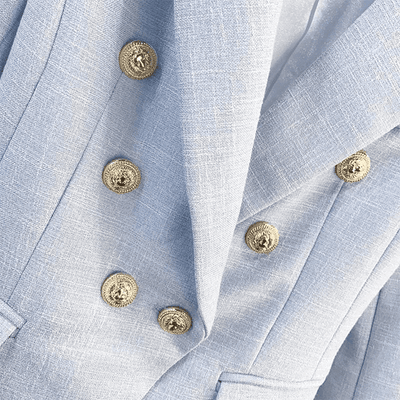 Long Sleeve Double Breasted Metal Lion Buttons Blazer Blazers