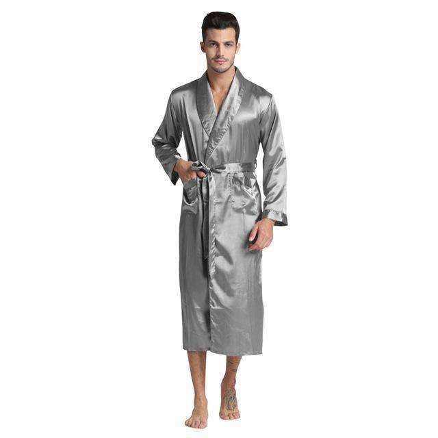 Long Solid Mens Silk Satin Bathrobe Sleep & Lounge