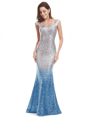 Long Sparkle V-Neck Evening Dress Evening Dresses