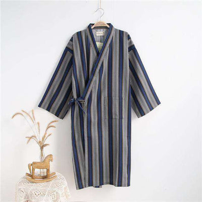 Lovers Simple Japanese Kimono Robes Men 2 Stripe Black / M Sleep & Lounge