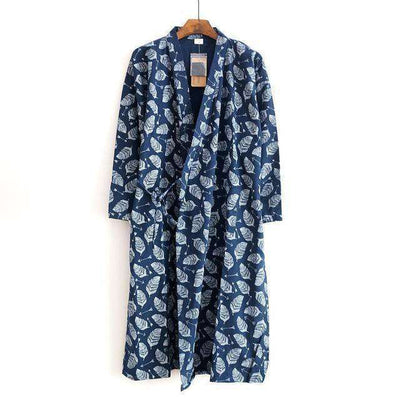 Lovers Simple Japanese Kimono Robes Men Blue Leaves / M Sleep & Lounge