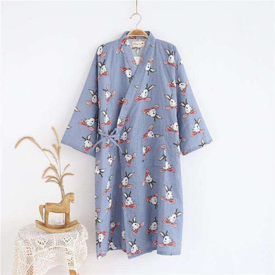 Lovers Simple Japanese Kimono Robes Men Blue Rabbit / M Sleep & Lounge