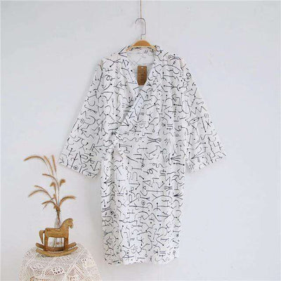 Lovers Simple Japanese Kimono Robes Men Geometric White / M Sleep & Lounge