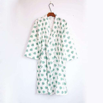 Lovers Simple Japanese Kimono Robes Men Leaf Green / M Sleep & Lounge