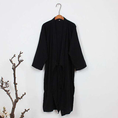 Lovers Simple Japanese Kimono Robes Men Pure Black / M Sleep & Lounge