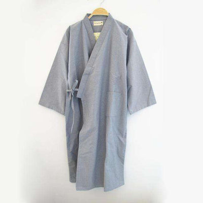 Lovers Simple Japanese Kimono Robes Men Pure Gray / M Sleep & Lounge