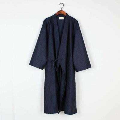 Lovers Simple Japanese Kimono Robes Men Pure Navy / M Sleep & Lounge