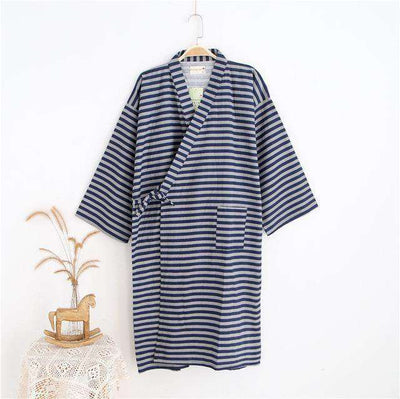 Lovers Simple Japanese Kimono Robes Men Stripe Black / M Sleep & Lounge