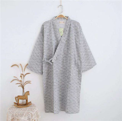 Lovers Simple Japanese Kimono Robes Men Waves Grey / M Sleep & Lounge