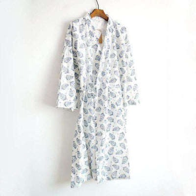 Lovers Simple Japanese Kimono Robes Men White Leaves / M Sleep & Lounge
