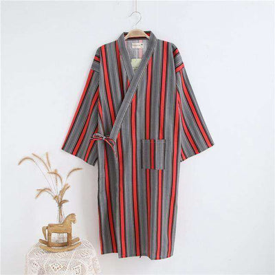 Lovers Simple Japanese Kimono Robes Women 2 Stripe Red / M Sleep & Lounge