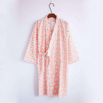 Lovers Simple Japanese Kimono Robes Women Leaf Pink / M Sleep & Lounge