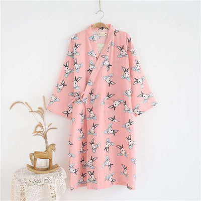 Lovers Simple Japanese Kimono Robes Women Pink Rabbit / M Sleep & Lounge