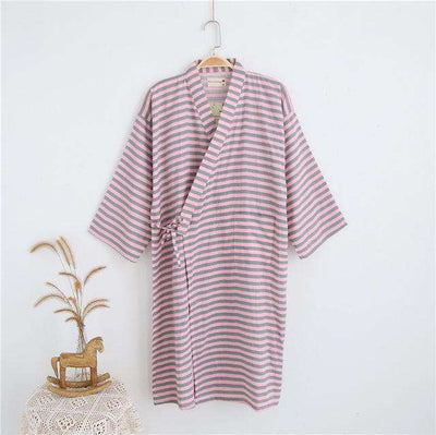 Lovers Simple Japanese Kimono Robes Women Stripe Pink / M Sleep & Lounge