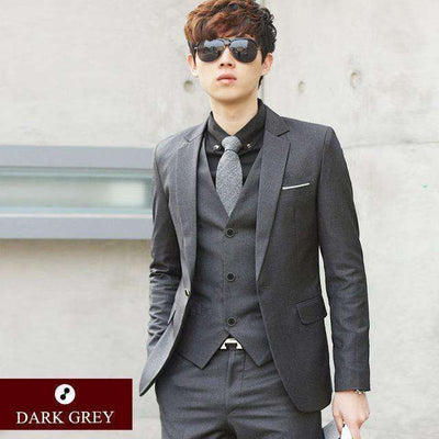 Luxury Men Wedding/work Suit 1 Dark Grey / Xs Suits