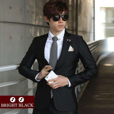 Luxury Men Wedding/work Suit 2 Bright Black / Xs Suits