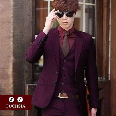 Luxury Men Wedding/work Suit 2 Fuchsia / Xs Suits