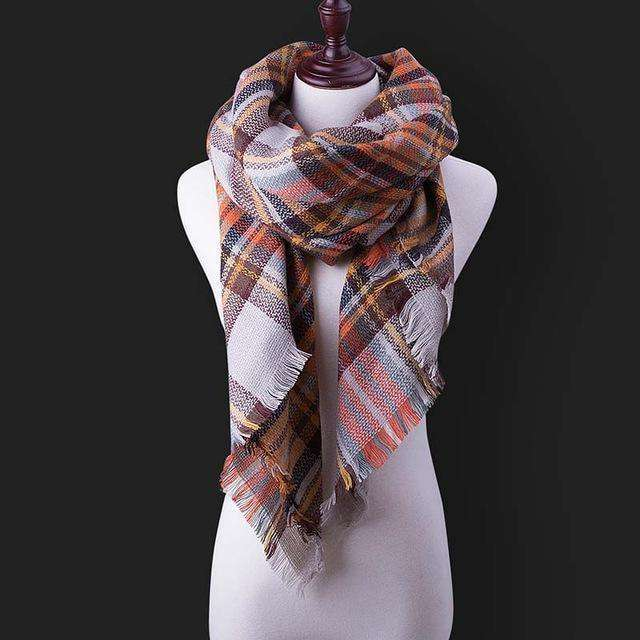 Luxury Warm Wrap Plaid Scarf B17 Scarves