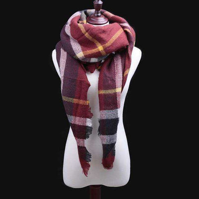 Luxury Warm Wrap Plaid Scarf B3 Scarves
