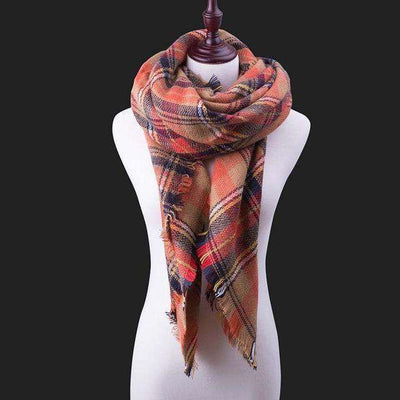 Luxury Warm Wrap Plaid Scarf B9 Scarves