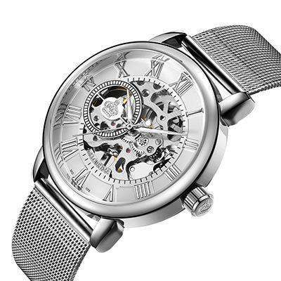 Male Wristwatch Skeleton Dial Mechanical Hand-Wind Clock Silver Black