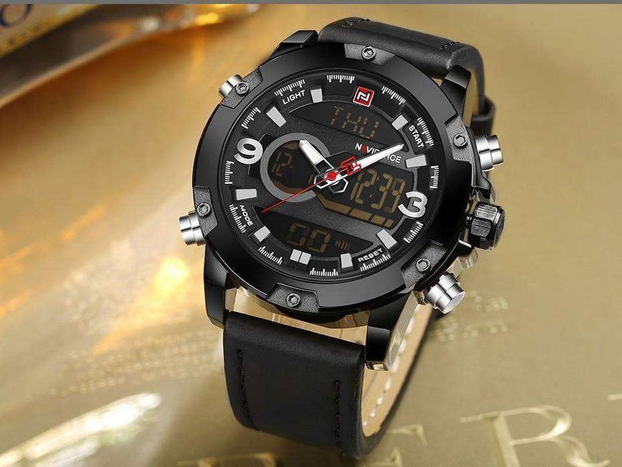 Men Analog Digital Leather Sports Watches Black