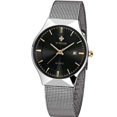 Men Brand Mens Watches Ultra Thin Stainless Steel Black