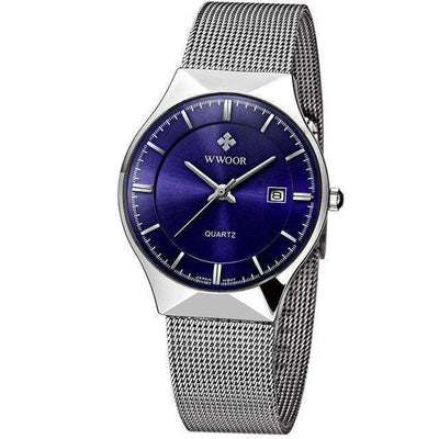 Men Brand Mens Watches Ultra Thin Stainless Steel Blue