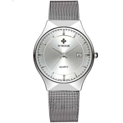 Men Brand Mens Watches Ultra Thin Stainless Steel White