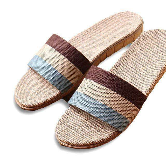 8f1f3ae2a3212 Men Slippers Brand Flat Non-Slip Stripe Hemp Basic Slides Home Sandals